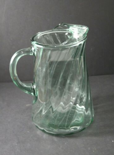 Vintage Indiana Glass Co. Blue-Green Optic Swirl Glass Pitcher with Ice Lip 8""