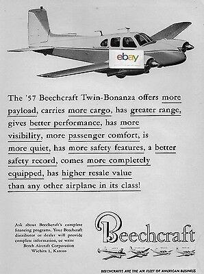 Beechcraft Aircraft For 1957 Twin Bonanza American Business Air Fleet Ad