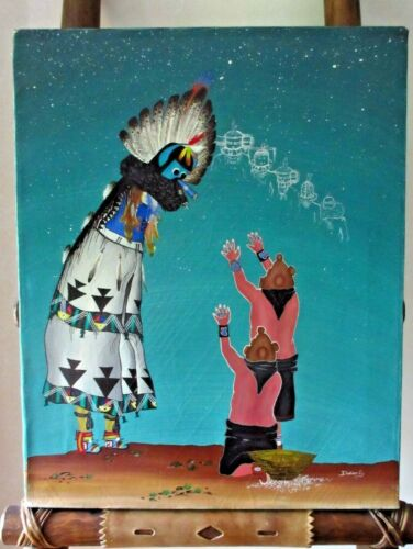 Native Zuni Older Oil on Canvas Painting -  Shalako W Mud head by Dadrian S HP81