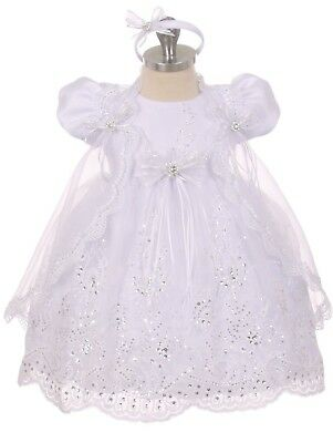 Baby Flower Girls White Dress Christening Baptism Wedding Easter Rhinestones 17