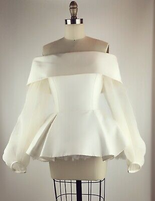 Elizabeth Kennedy Off The Shoulder Blouse white Sheer balloon sleeves Size 2