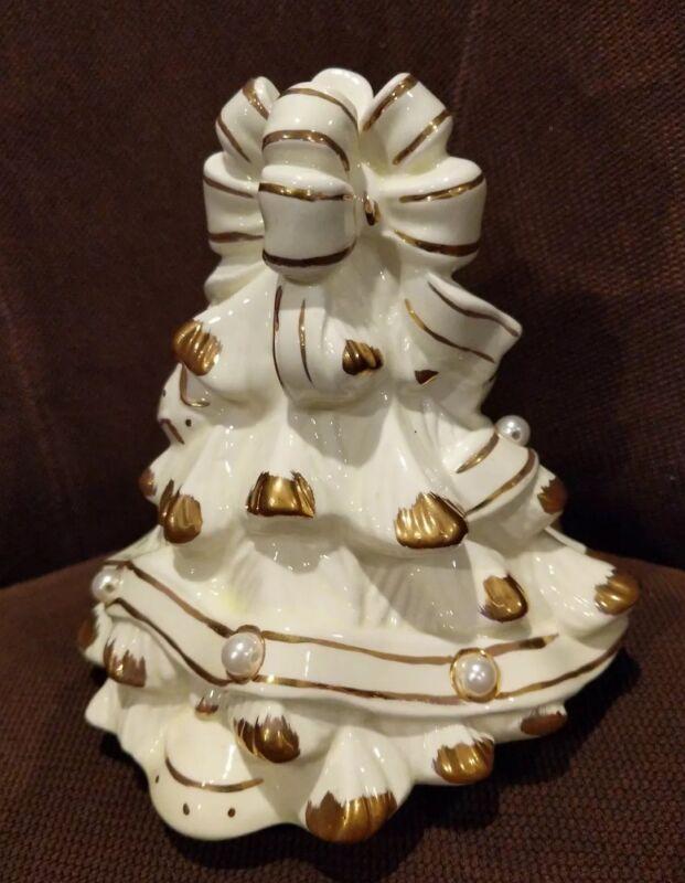 Cookie Jar LID Baum Bros Formalities Ivory & Pearls Christmas Tree TOP ONLY