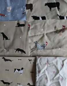 5 Sophie Allport Fabric Offcuts Remnants Bundle Chicken Stag Dog Cat Pheasant