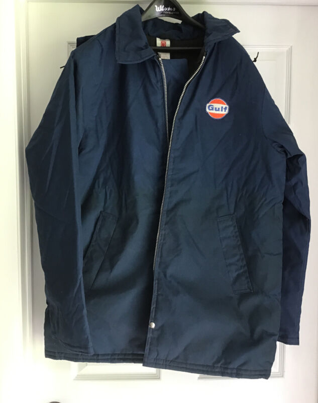 GULF OIL Gas Station Company EMPLOYEE WINTER COAT W/ PATCH LARGE Free Ship
