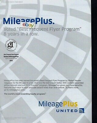 UNITED AIRLINES  2012 MILEAGEPLUS VOTED BEST FREQUENT FLYER PROGRAM 8 YRS (Best Frequent Flyer Program)