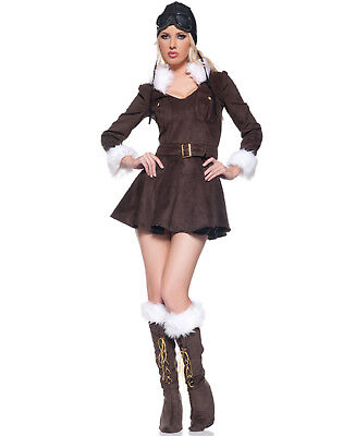 Baroness Aviator Plane Pilot Womens Steam Punk Halloween Costume - Womens Pilot Costume