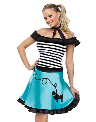 At The Hop Honey 1950'S Poodle Skirt Car Hop Womens Fancy Halloween Costume