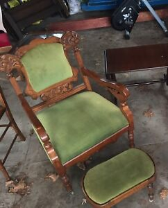 Antique chair with footstool