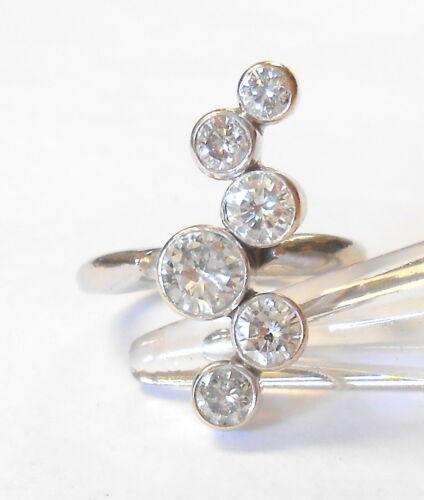 Estate Graduated Diamond Carat+ Journey Offset 14K White Gold Ring Size 6.75