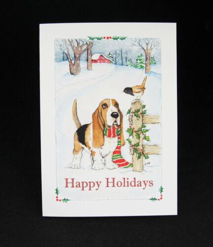 Basset Hound Dog Christmas Cards / Box of 16 Cards & 16 Envelopes