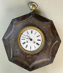 Antique Wall Clock Tin Metal Primitive Painted Case Large Hanging
