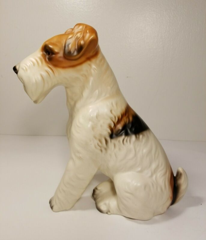 "Wire Haired Fox Terrier Seated Dog Figurine Porcelain Decor 9"" Tall Sculpture"