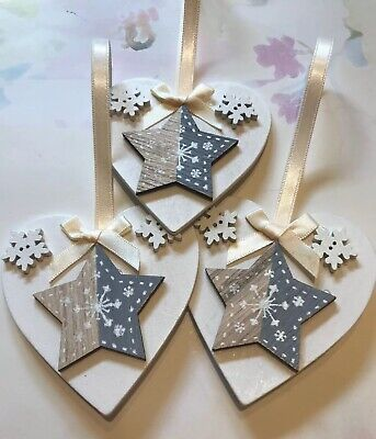 3 X Nordic Star Snowflake Christmas Decorations Wood Heart Bows Cream Grey ()