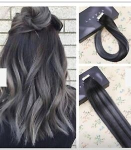Real hair extensions silver and black ***