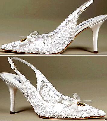 Dolce Gabbana White Floral  Lace Slingbacks  Shoes