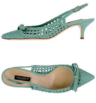 Dolce & Gabbana Light Green Woven Leather Heel Slingback Pumps
