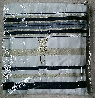"Messianic Grafted In Black and Gold Tallit Prayer Shawl 72"" x 22"" in Bag New"