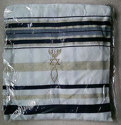 """Messianic Grafted In Black and Gold Tallit Prayer Shawl 72"""" x 22"""" in Bag New"""