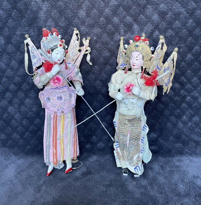 RARE Antique Vintage Chinese Female Spear Warriors Actor Opera Dolls