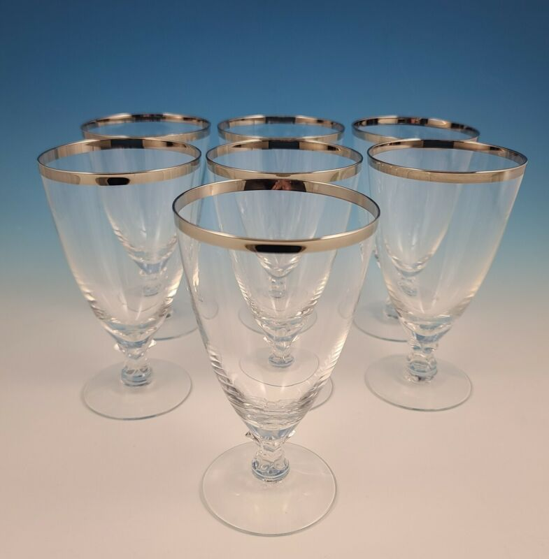 Set of 7 Fostoria WEDDING RING #6051 Platinum Trim Footed Iced Tea Tumblers