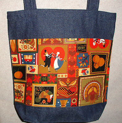 NEW Handmade Large Thanksgiving Turkey Fall Feast Collage Print Denim Tote Bag