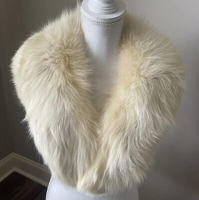 Vintage Scarf Styles -1920s to 1960s Vintage Estate Creamy Dreamy White Genuine Fur Stole Collar Scarf $45.00 AT vintagedancer.com
