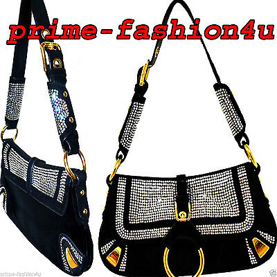 Dolce & Gabbana Black Satin w  Suede trim Crystal Embellishment Evening Handbag