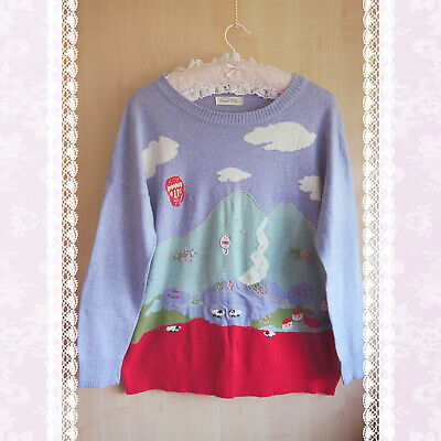 SIMPLE CITY CUTE VINTAGE STYLE RETRO BLUE RED EMBROIDERY JUMPER CLOUDS 12 M 90s