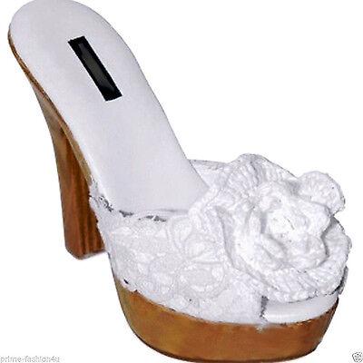 Dolce & Gabbana White  rosette raffia peep toe wood  platform sandals
