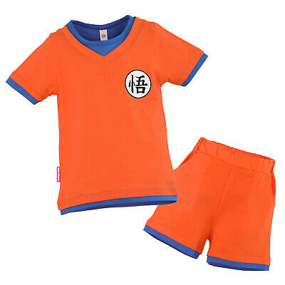 Kinder Dragon Ball Son Goku Kostüm T-Shirt Shorts Costume Dragonball Trainingsan (Dragon Kostüm Kinder)