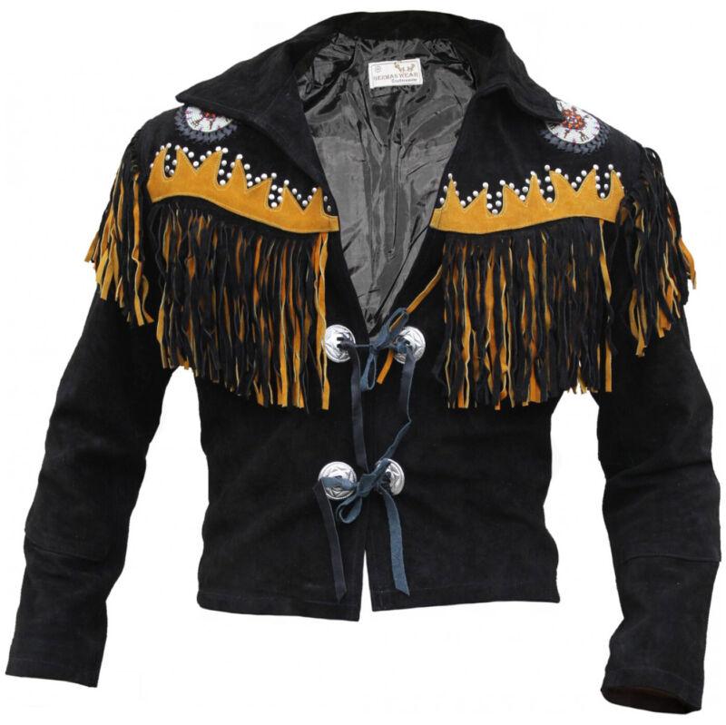 German Wear,Vest Jacket Rider Jacket Western-Lederjacke Indians Costume Black