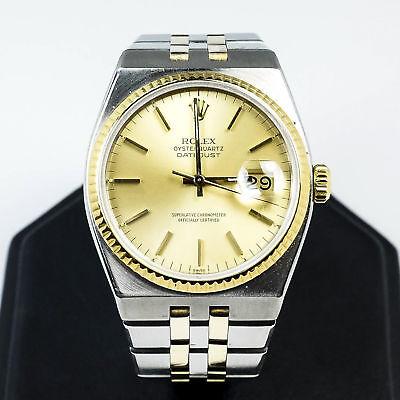 ROLEX 36mm Two-Tone 1980 OysterQuartz Datejust 17013 Men's Wrist Watch