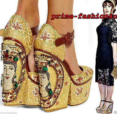 Dolce & Gabbana Multicolor Embellished Ayers-Trimmed Embroidered Wedge Sandals