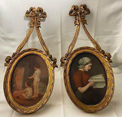 Coppia di quadri antichi con cornice lavorata e dorata. Primi del '900. Ottimi!
