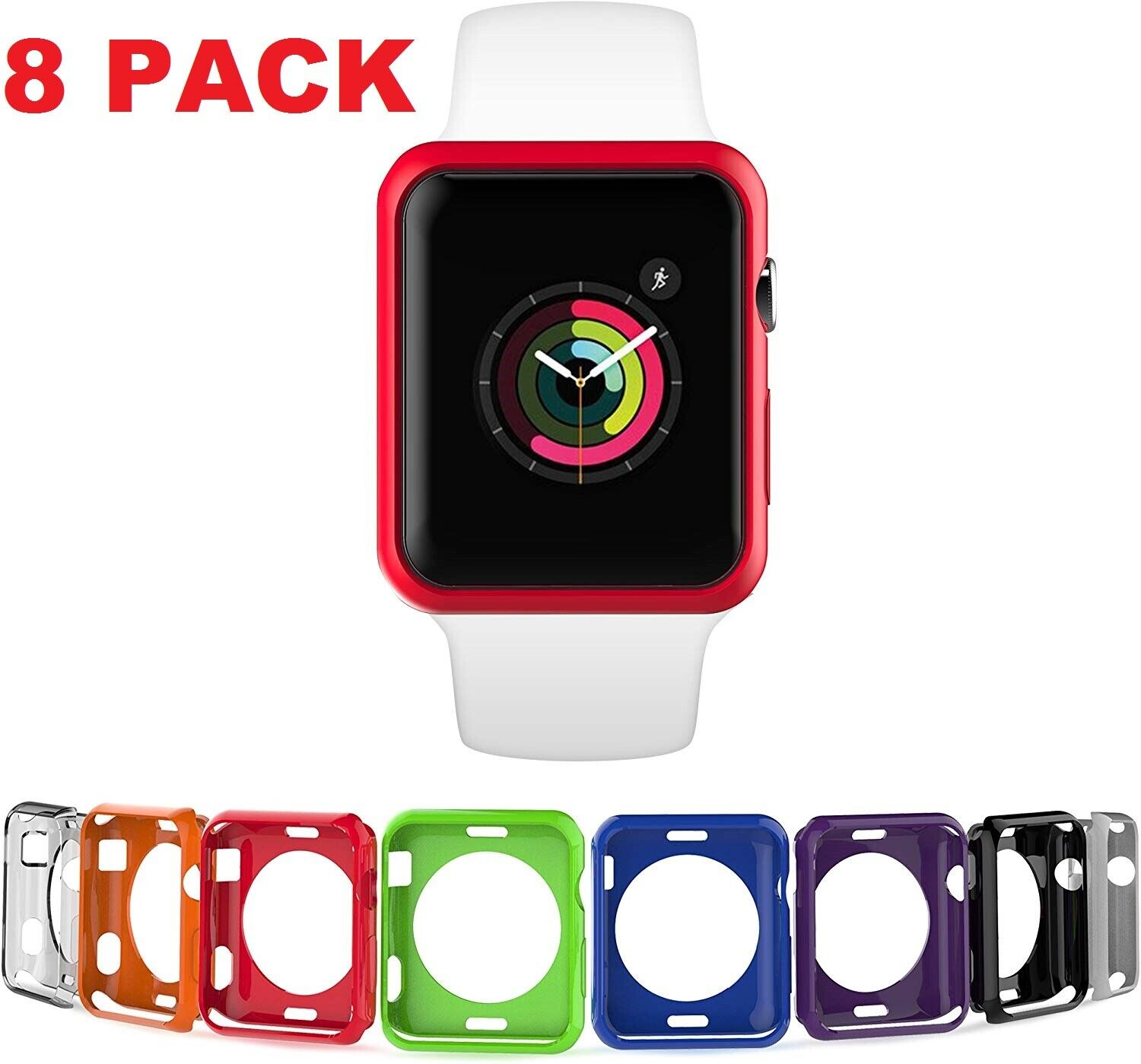 8 Color Pack Cover Protective Case for Apple Watch 38/40/42/44mm Series 4/3/2/1 Cell Phones & Accessories