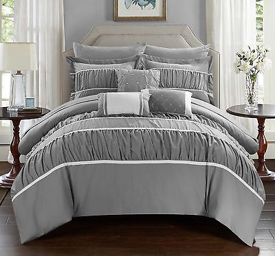 - Gray Ruched Ruffled 10-Piece Complette Comforter Set Old World Charm QUEEN Size