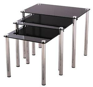 Black Gl Nest Of Tables