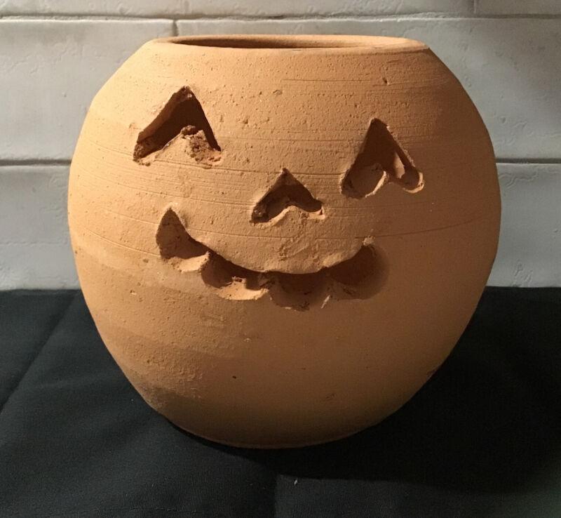 Vintage Georgia - Hewell Pottery Terracotta Jack O Lantern Pumpkin Halloween