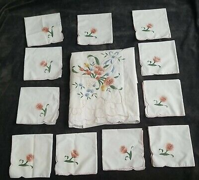 Mid Century Bridge Tablecloth 41 x 41 Table Throw Cottage Style Linens French Country Handmade Embroidered Table Cloth