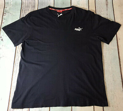 Puma T Shirt Tee Top Navy Blue Spell Out Logo - Size Large