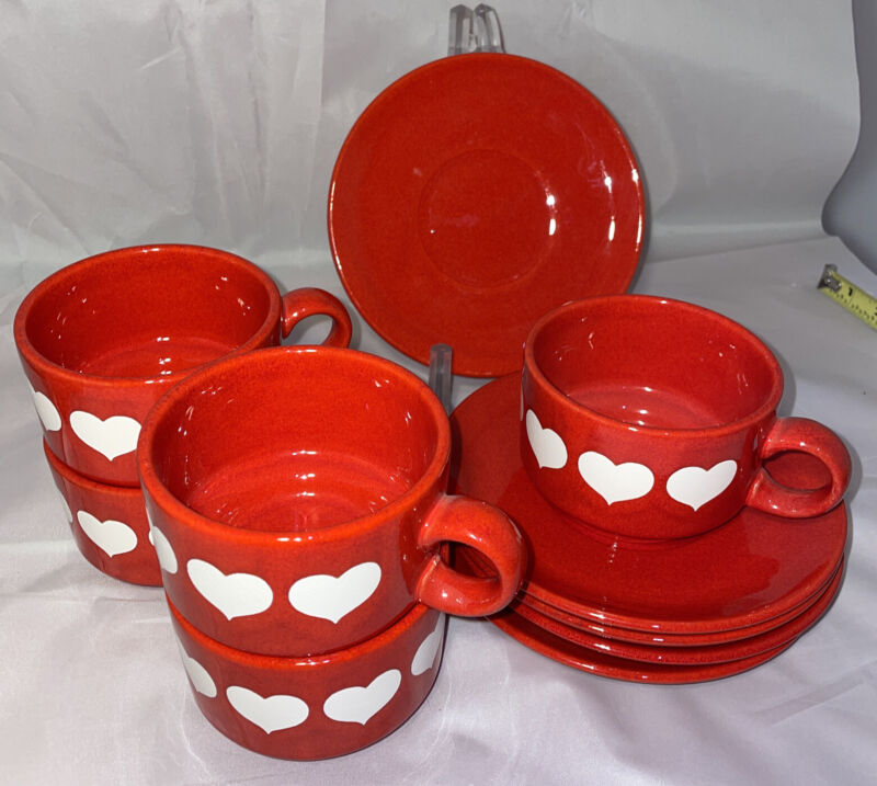 "Waechtersbach Red & White Big Heart Valentine's 3.5""x2.5"" Cup & Saucer Extras Av"