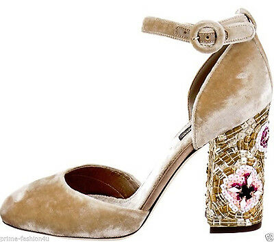 Dolce & Gabbana Golden Beige Velvet Mary Jane Floral Mosaic Decorated Pumps