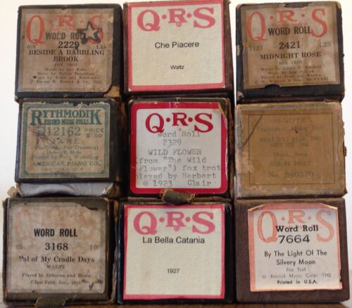 9 Vintage Piano Rolls in very good condition