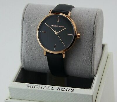 NEW AUTHENTIC MICHAEL KORS JAYNE ROSE GOLD BLACK LEATHER WOMEN'S MK7101 WATCH