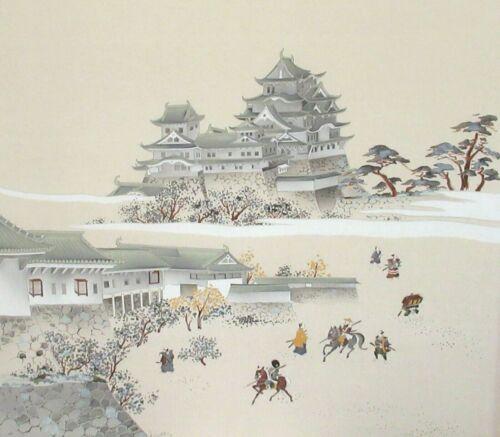 LARGE JAPANESE SAMURAI PEOPLE TEMPLE ORIGINAL SILK TAPESTRY PAINTING UNSIGNED