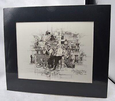 1985 New Orleans Jazz Musicians Danny Barker   Friends Art Lithograph B W Print
