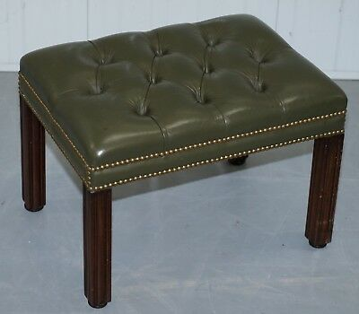 AGED GREEN LEATHER CHESTERFIELD MAHOGANY FRAMED FOOTSTOOL FOR CLUB ARMCHAIRS, used for sale  Shipping to Canada
