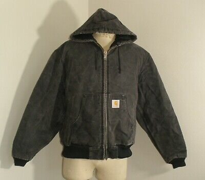 CARHARTT J04 BLK QUILTED FLANNEL lined HOODED DUCK Canvas Jacket USA MADE XL Carhartt Quilted Flannel