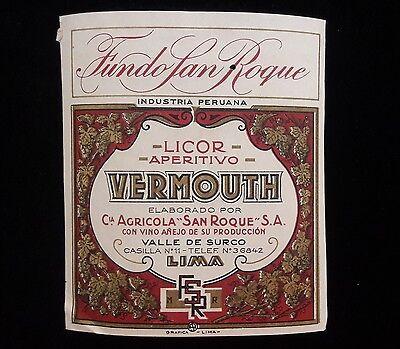 PERU Lima Surco Fundo SanRoque Vermouth vintage aperitive wine lable proof - Wine Lables
