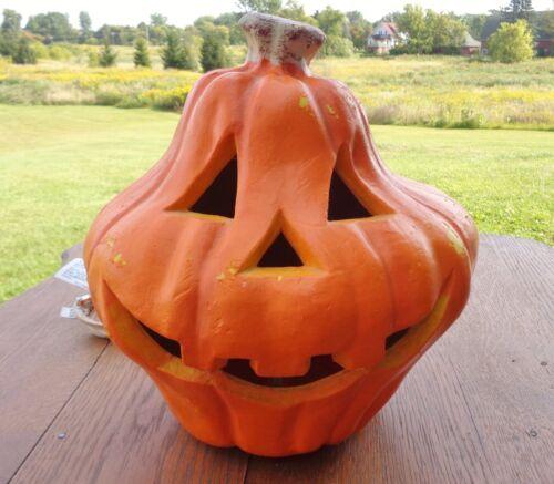 "Vintage 1998 Paper Magic Co. Lighted Foam Halloween Pumpkin Gourd Squatty 9"""